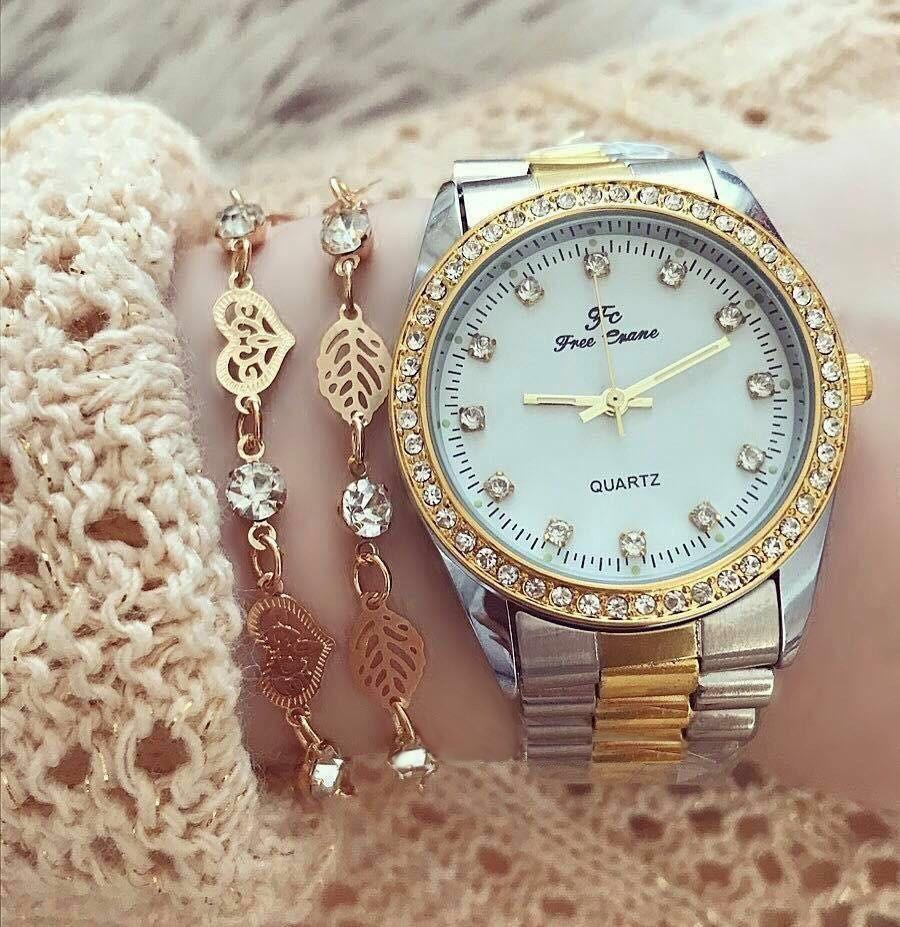 Ceas de dama Elegant metalic Silver Gold