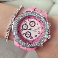 Ceas dama Cristal Fashion Pink curea metalica