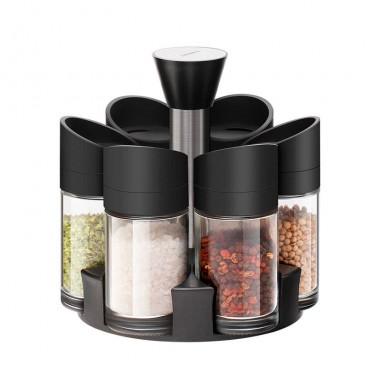 Set 6 recipiente pentru condimente cu suport rotativ