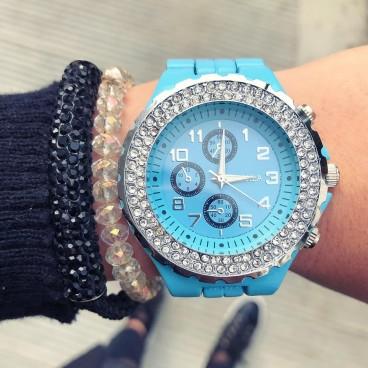 Ceas de dama metalic Elegant Blue cu pietricele