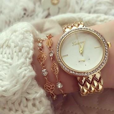 Ceas de dama Elegant Style metalic Gold