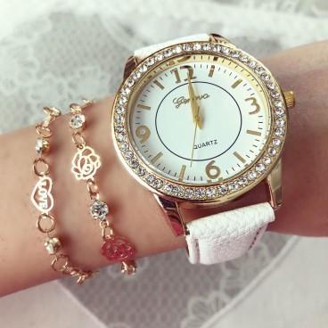 Ceas de dama Fashion White cu pietricele si curea piele PU