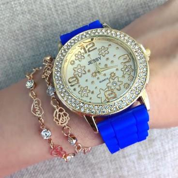 Ceas dama Flower Fashion Blue cu pietricele