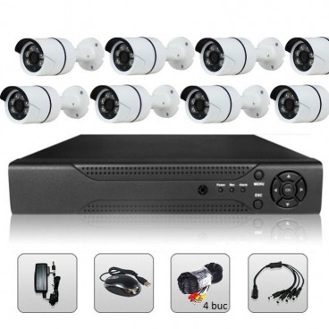 Sistem complet DVR supraveghere video cu 8 camere pentru interior exterior